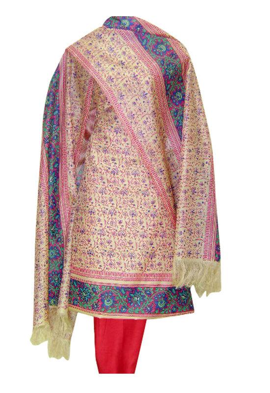 Printed Tussar Silk Suit Material Pink Color