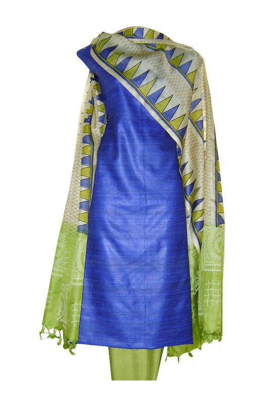 Printed Tussar Silk Suit Material in Ink Blue Color