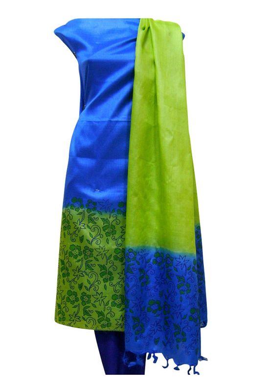 Printed Tussar Silk Suit Material Blue41