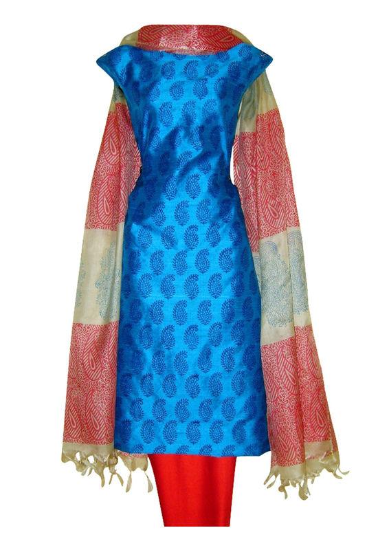 Printed Tussar Silk Suit Material Blue43