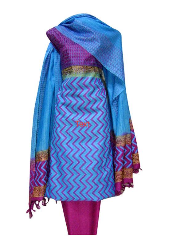 Printed Tussar Silk Suit Material Blue45