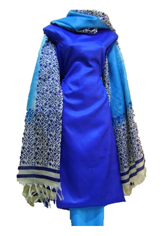 Printed Tussar Silk Suit Material Blue46