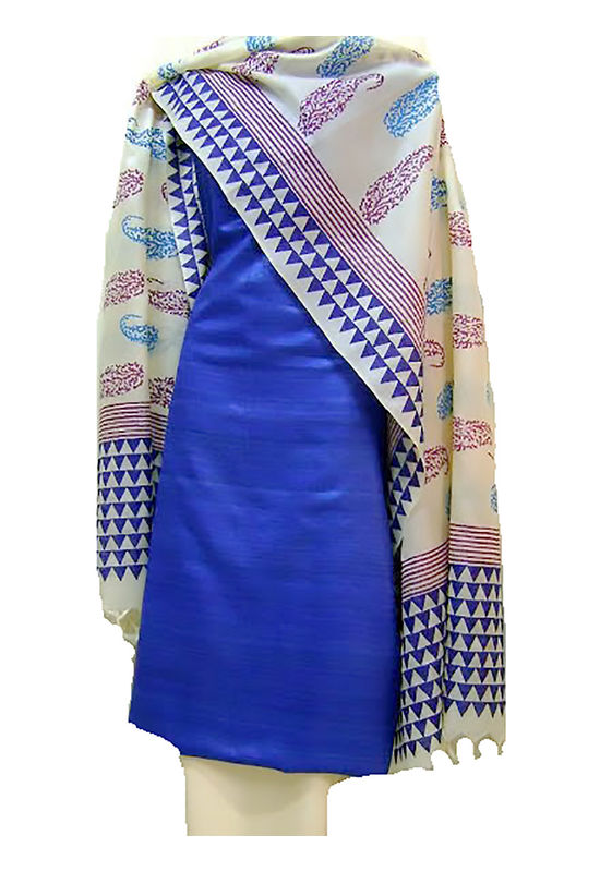 Printed Tussar Silk Suit Material Blue47