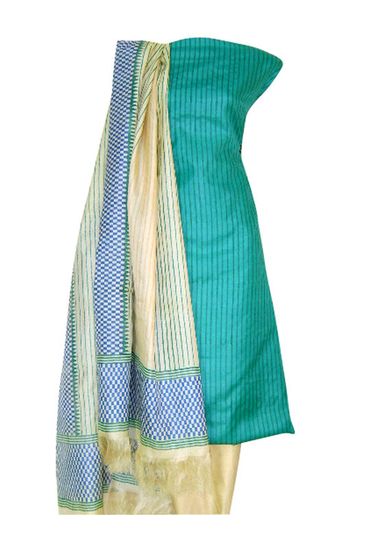 Printed Tussar Silk Suit Material Blue6