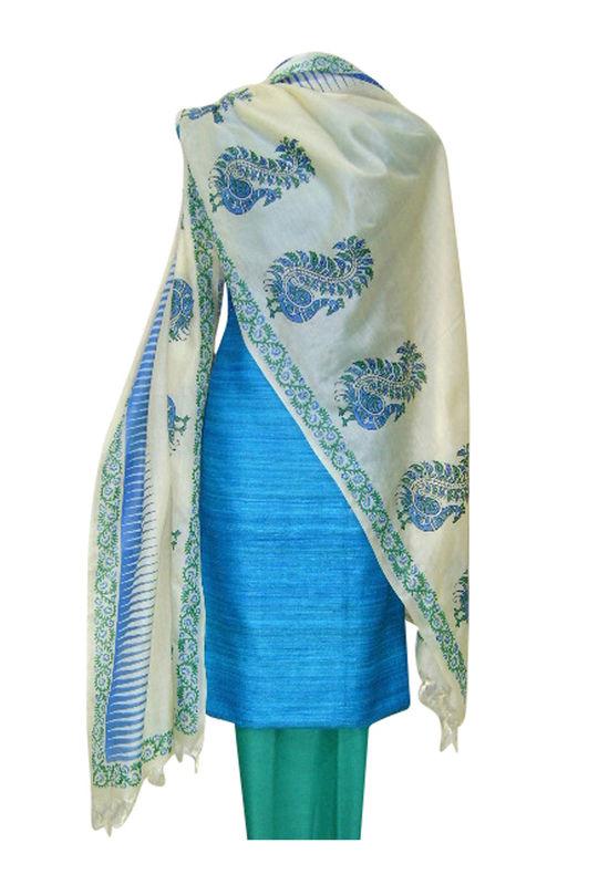 Printed Tussar Silk Suit Material Blue8