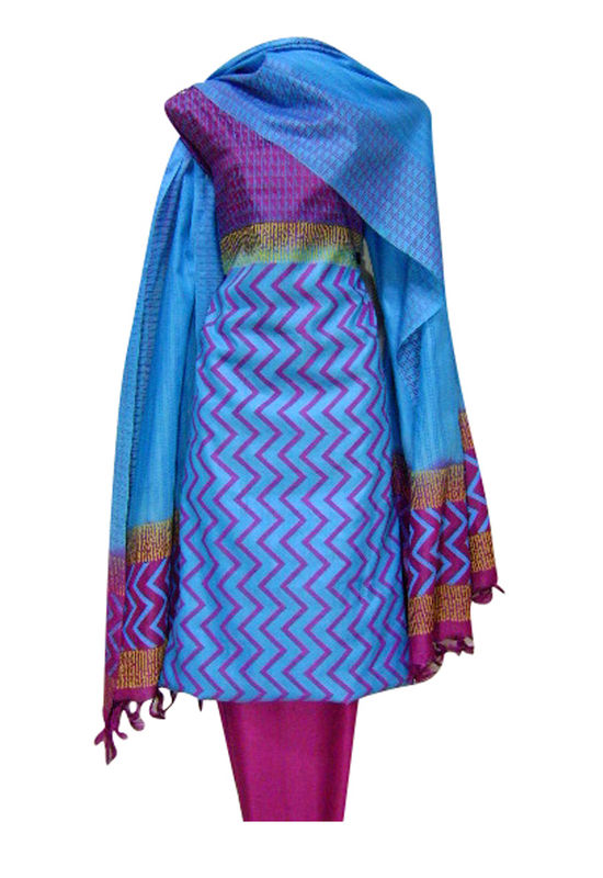 Printed Tussar Silk Suit Material Blue9
