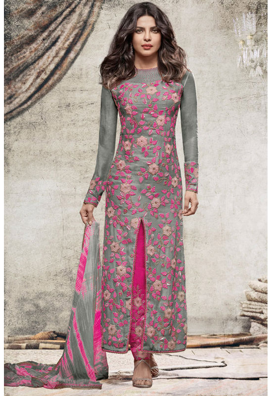Priyanka Chopra Stylish Grey colour Georgette Straight Cut Salwar Suit