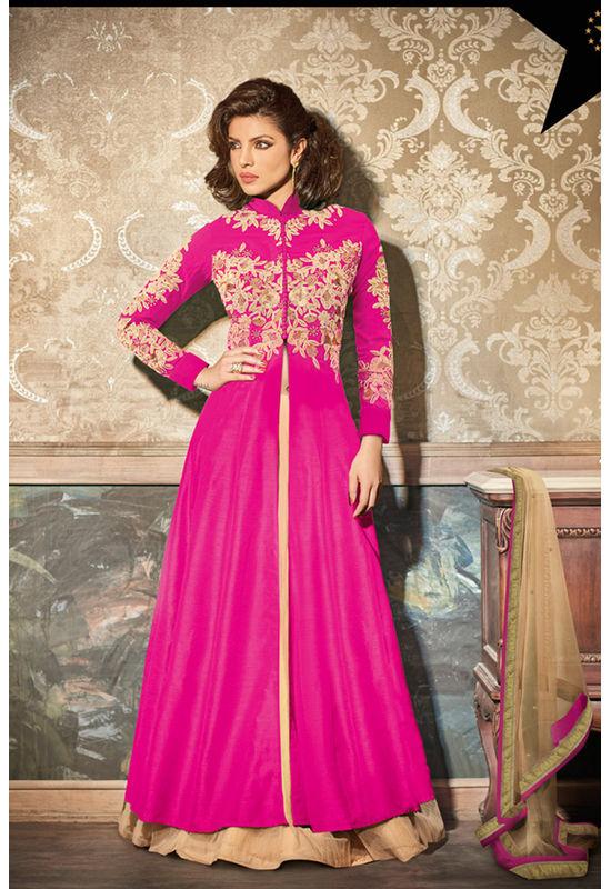 Layered Hot Pink Embroidered Anarkali Suit Featuring Priyanka Chopra