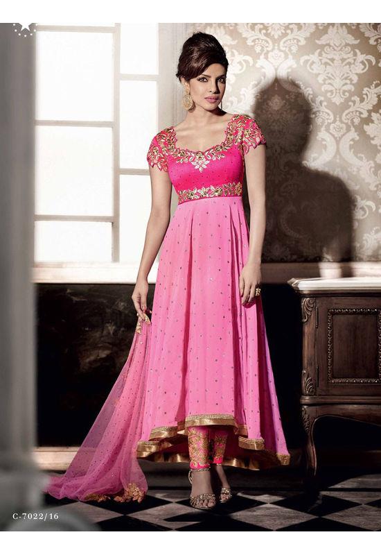 Pink Colour Georgette Asymmetrical Anarkali Suit