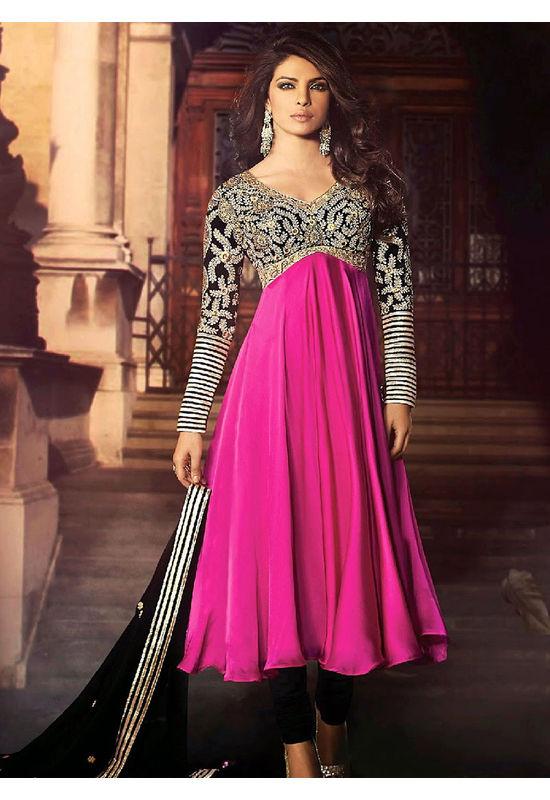 Priyanka Chopra Pink and Black Party Wear Anarkali