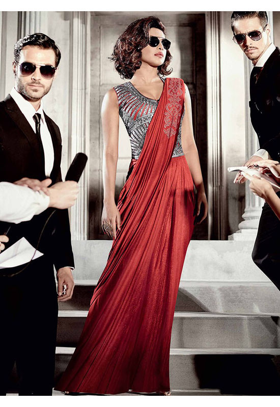 Priyanka Chopra Saree Gown for Party  and Reception