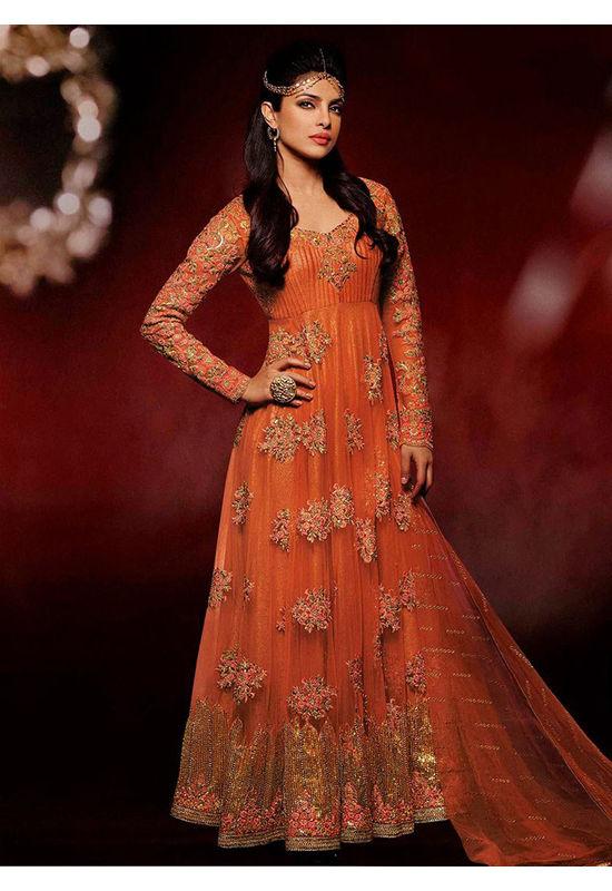 Priyanka Chopra Royal and Beautiful Orange Colour Net and Embroidery Suit
