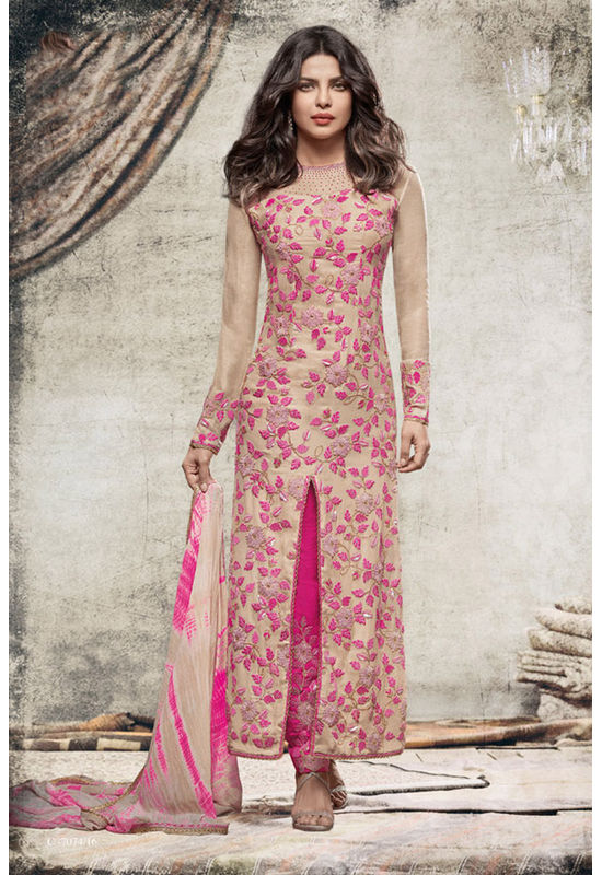 Priyanka Chopra Stylish Pink colour Georgette Straight Cut Salwar Suit