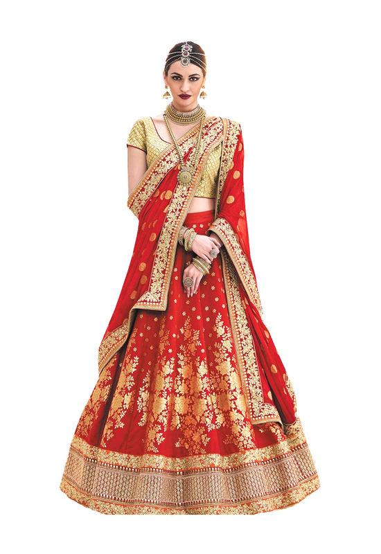 Red Color Wedding Wear Brocade Embroidered Lehenga Choli