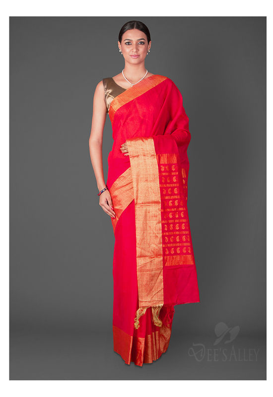 Dee's Alley Red Matka Silk  Saree with Woven  Zari Buttis