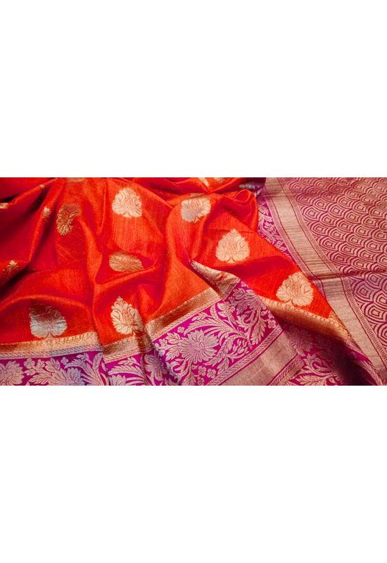 Red Color Linen and Katan Silk Blend Saree with Magenta Border