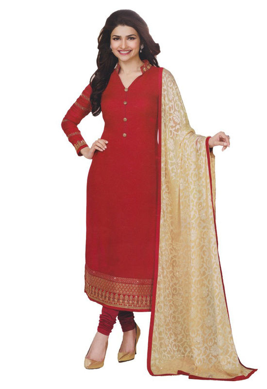 Prachi Desai in Red Georgette Straight Salwar Suit