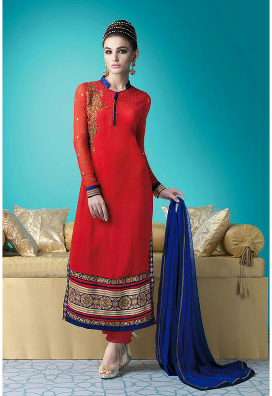 Red Blue Color Georgette Partywear Straight Suit