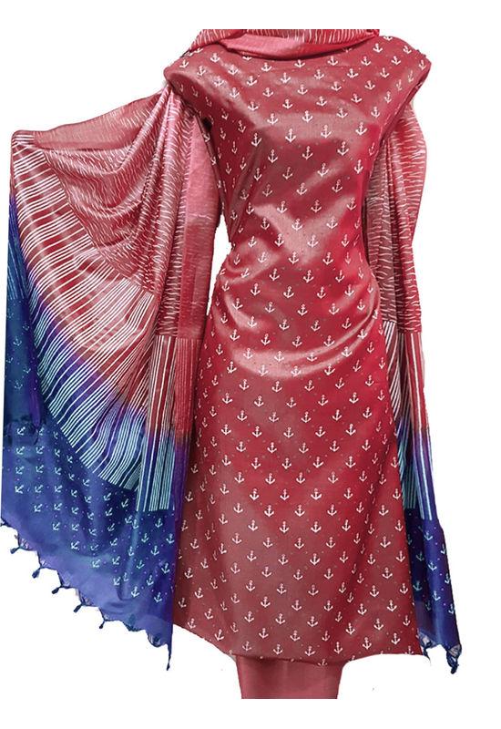 Block Printed Pure Tussar Silk Material in Red Color