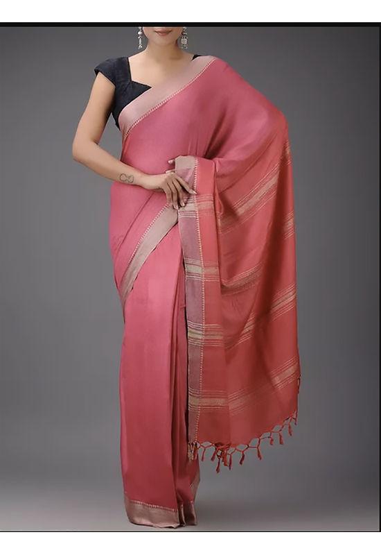 Dee's Alley  Rose Pink  Eri-Tussar Silk Saree