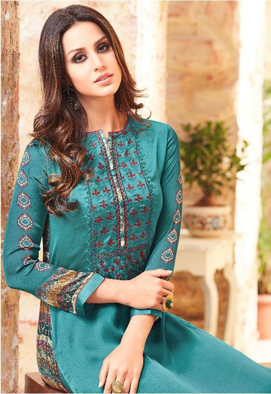 Embroidered Georgette Satin Salwar Suit_1