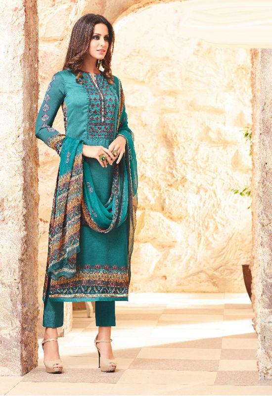 Embroidered Georgette Satin Salwar Suit_2