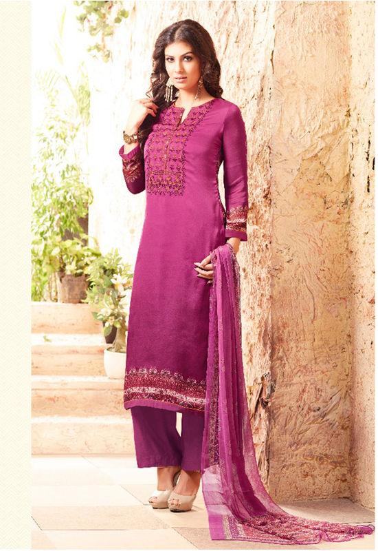 Embroidered Georgette Satin Salwar Suit_3
