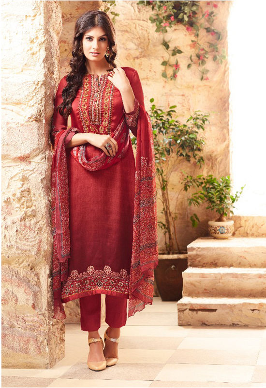 Embroidered Georgette Satin Salwar Suit_4