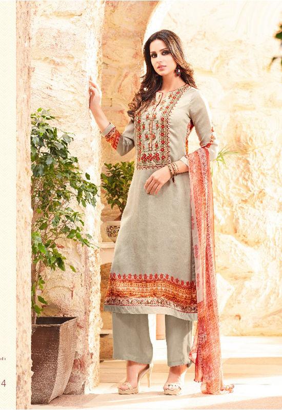 Embroidered Georgette Satin Salwar Suit_5