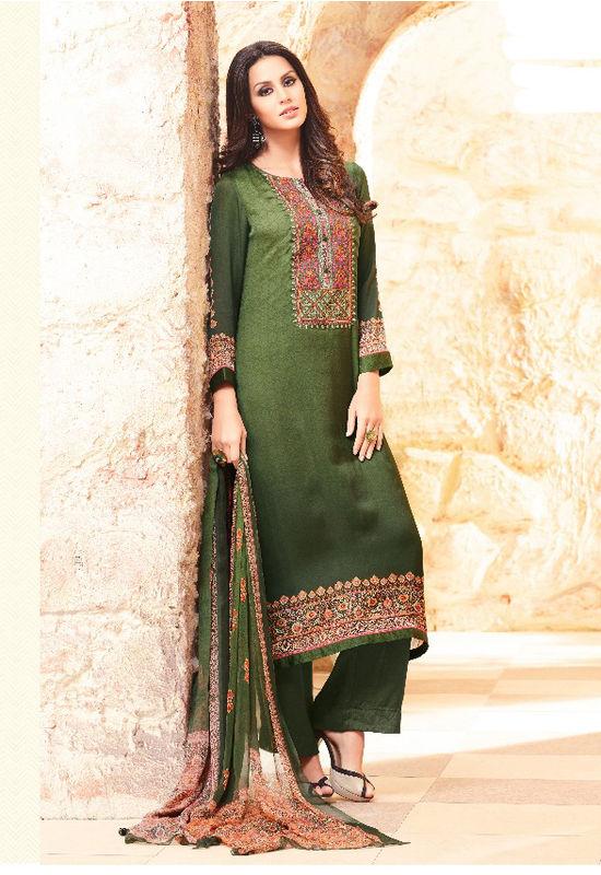 Embroidered Georgette Satin Salwar Suit_7