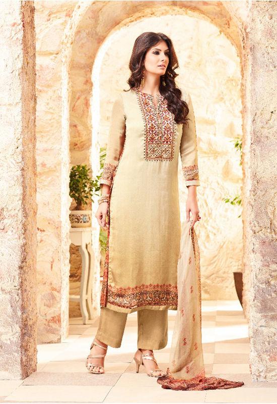 Embroidered Georgette Satin Salwar Suit_8