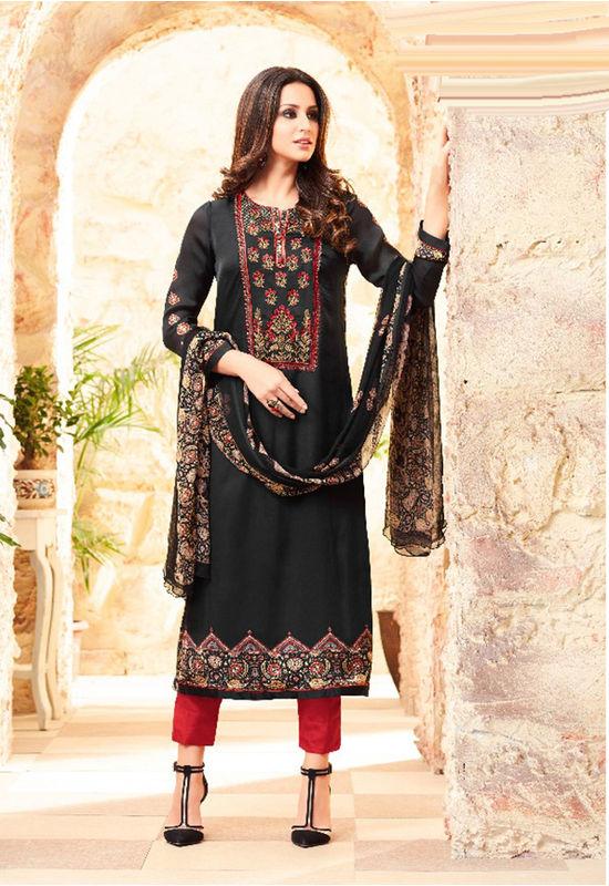 Embroidered Georgette Satin Salwar Suit_9