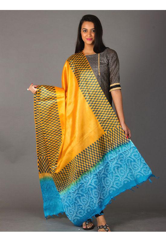 Dee's Alley Pure Tussar Silk Dupatta - Block Printed in Yellow