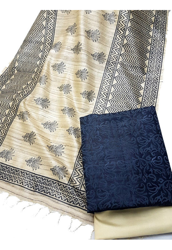 Printed Tussar Gicha Silk Dress Material in Beige and Black
