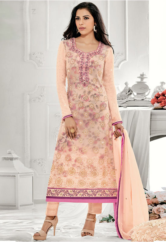 Peach Color Gorgeous Party Wear Staright Suit_4022