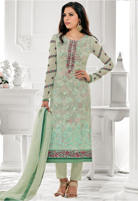 Light Green Elegant  Party Wear Staright Suit_4023