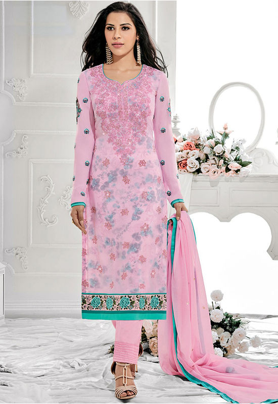 Pink Color  Party Wear Staright Suit_4029