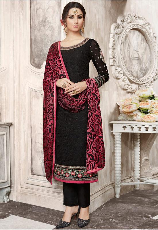 Black Color Georgette Party Wear Staright Suit_4032