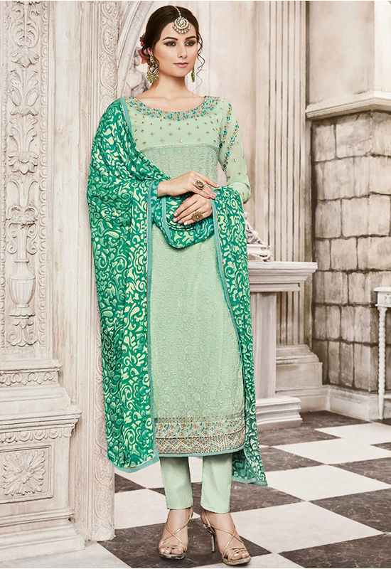 Green  Color Georgette Party Wear Staright Suit_4034