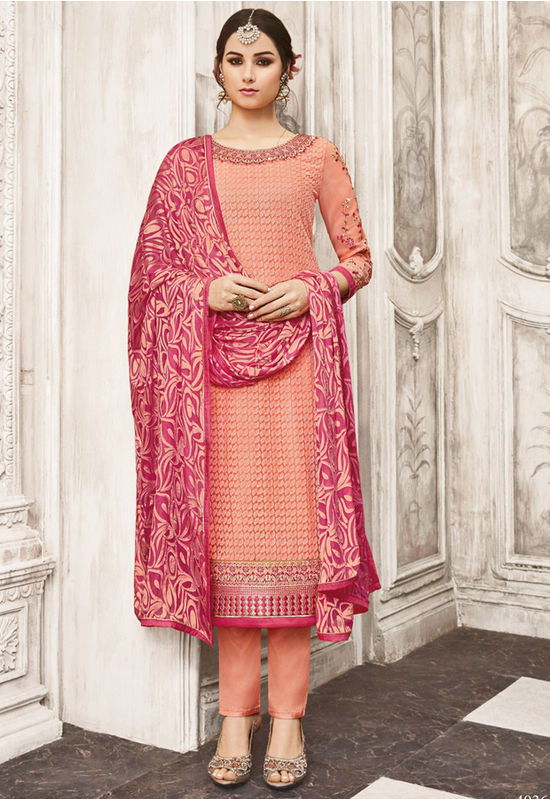 Peach Color Georgette Party Wear Staright Suit_4036
