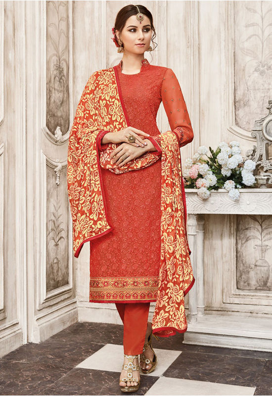 Coral Red Color Georgette Party Wear Staright Suit_4038
