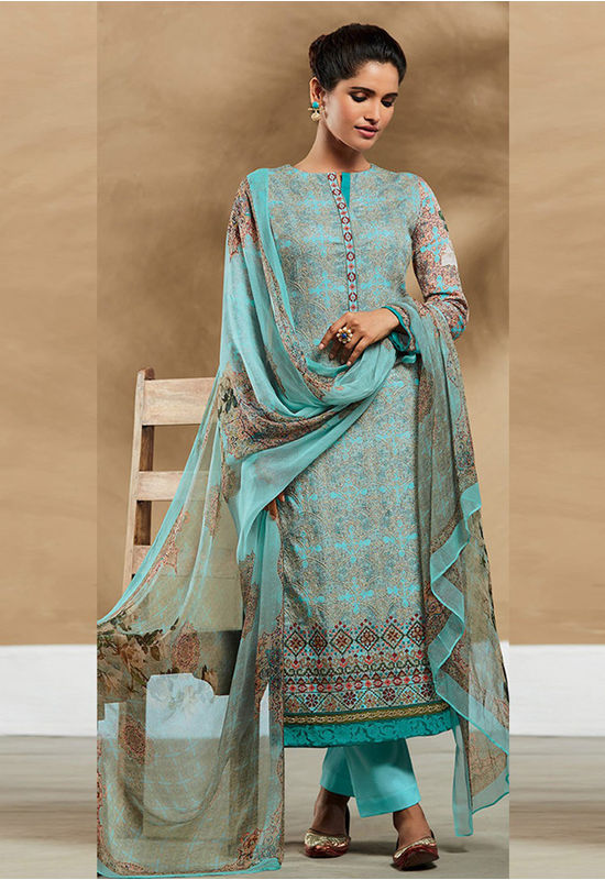 Embroidered Cotton Pant Style Straight Suit_7404
