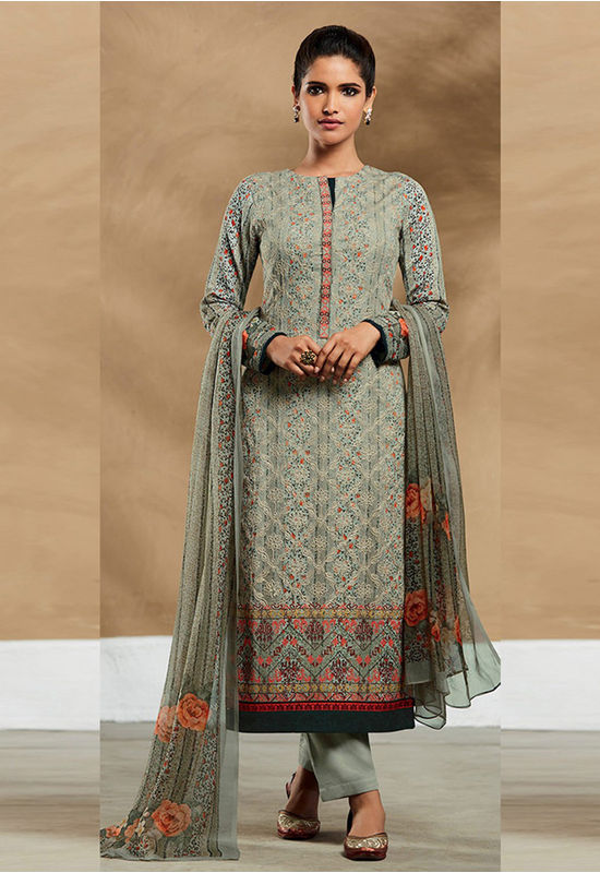 Embroidered Cotton Pant Style Straight Suit_7405