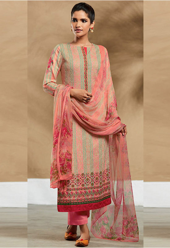 Embroidered Cotton Pant Style Straight Suit_7406