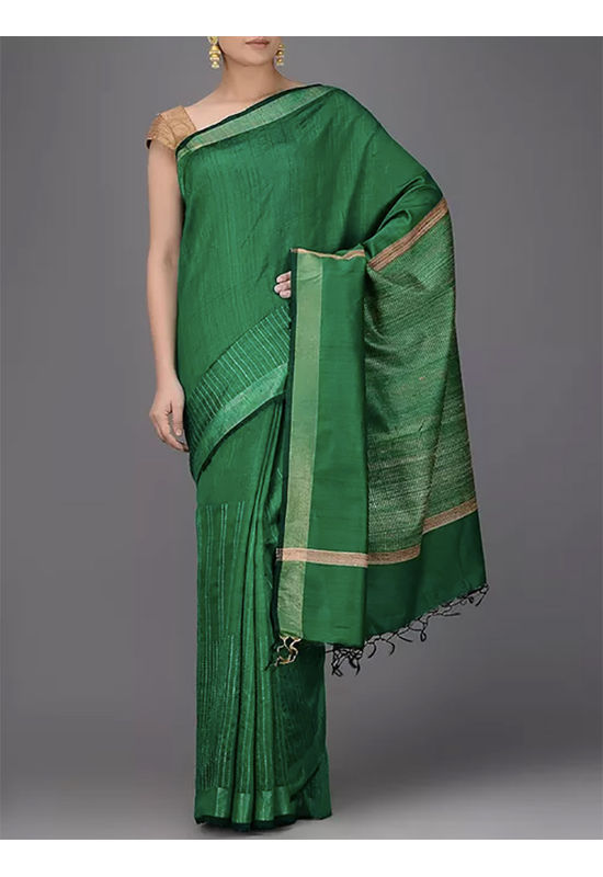 Dee's Alley Green Desi Silk Saree with Ghicha Pallu