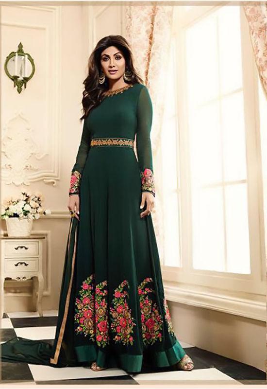 Shilpa Shetty in Dark Green Long Anarkali