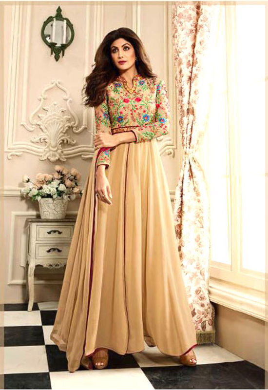 Shilpa Shetty in Beige Color Anarkali with Floral Embroidery