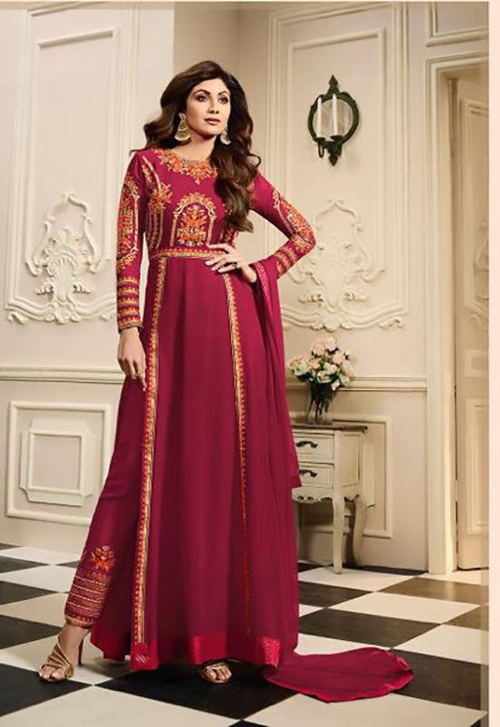 Shilpa Shetty in Pant Style Maroon Anarkali