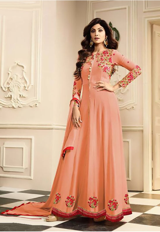 Shilpa Shetty in Pant Style Peach Anarkali  with Slit