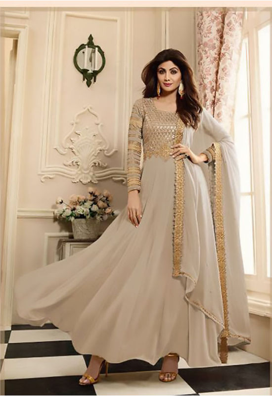 Shilpa Shetty in Ash Grey  Long Anarkali